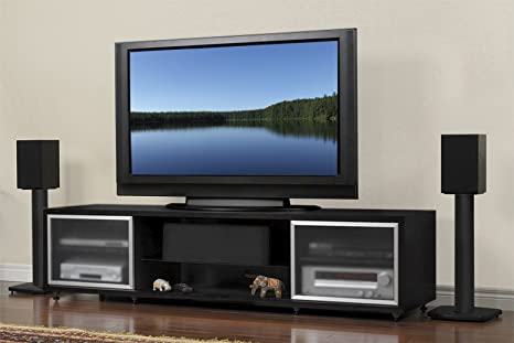 PLATEAU SR-V 75 B Wood TV Stand, 75-Inch, Black Oak Finish