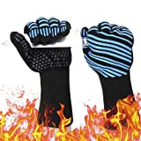 932? Extreme Heat Resistant BBQ Gloves, Food Grade Kitchen Oven Mitts - Flexible Oven Gloves with Cut Resistant, Silicone Non-slip Cooking Hot Glove for Grilling, Cutting, Baking, Welding (1 pair) (Color: Blue, Tamaño: Palm Width 4.9 in)