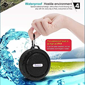 Portable Bluetooth Speakers, Wireless Waterproof Speakers, Mini Bluetooth Speaker with Super Bass, Support Micro SD/TF Card/USB Flash, Blult-in Micoph
