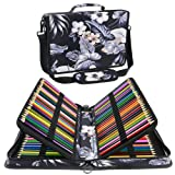 Shulaner 160 Slots Colored Pencil Case Organizer Sinensis Flower Large Capacity Portable Pencil Bag (160-Flower-White) (Color: 160 - Flower-White, Tamaño: 160)