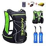 TRIWONDER Hydration Pack Backpack 10L Deluxe Running Race Hydration Vest Outdoors Mochilas for Marathon Running Cycling Hiking (Black&Green - with 2 Soft Water Bottles (350ml), L-XL) (Color: Black&Green - with 2 Soft Water Bottles (350ml), Tamaño: L/XL - 38.2-42.9in)