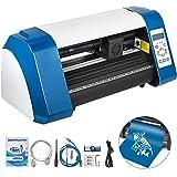 VEVOR Vinyl Cutter 14 Inch Vinyl Cutter Machine 375mm Vinyl Printer Cutter Machine LED Fill Light Strip Vinyl Plotter Cutter Machine with Floor Stand & Signmaster Software (Color: Blue, Tamaño: 14 Inch)
