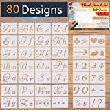 New! - 80 Designs - Letter Stencils for Painting on Wood - Alphabet with Calligraphy Font Upper and Lowercase Letters - Reusable Holiday Plastic Art Craft Stencils with Numbers and Signs - 40 Pcs (Color: Transparent, Tamaño: Large, 8.27