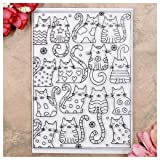 Kwan Crafts Cats Background Clear Stamps for Card Making Decoration and DIY Scrapbooking