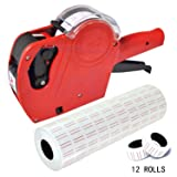 Mcupper-MX5500 EOS 8 Digits Price Tag Gun Labeler Labeller Included Labels & Spare Ink (Red) (Color: Red)