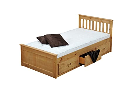3'0 MISSION STORAGE BED IN WAXED PINE WITH MEMORY FOAM 5000 MATTRESS