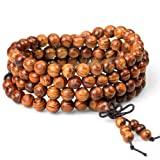 ZM Wood Bracelet 108 Beads 8mm Diameter Tibetan Buddhist Link Wrist Sandalwood Beads Necklace Prayer Mala Elastic (108beads)