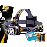 Fenix HP15UE (HP15 UE) Ultimate Edition 900 Lumens Iron Gray Expedition Headlamp with 4x AA Batteries and LumenTac Battery Organizer Sample (Color: Iron Gray)