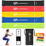 U-POWEX Resistance Loop Bands - Set of 5 - Premium Latex Mini Exercise Bands for Stretching, Yoga, Strength Training, Home Fitness, Physical Therapy, with Instruction Guide, Carry Mesh Bag. 12 x 2