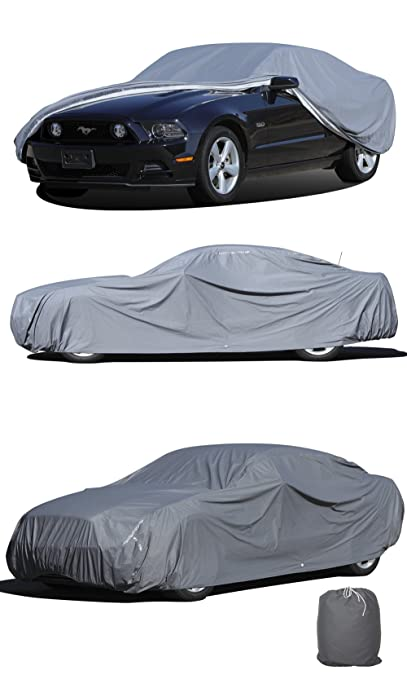 """5 Layer/Ply Duty Waterproof Car Cover w/ Fleece Inner Lining by OxGord, Fits Cars up to 229"""""""