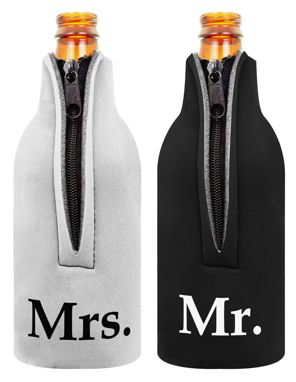 Bridal Shower Wedding Gift Beer Bottle Coolie Mr. and Mrs. 2 Pack Bottle Drink Coolers Coolies BlackWhite