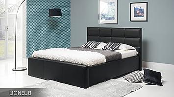 LIONEL black upholstered bed frame 160 cm wide bed with bed slats pocket sprung mattress storage bedroom furniture faux leather beds