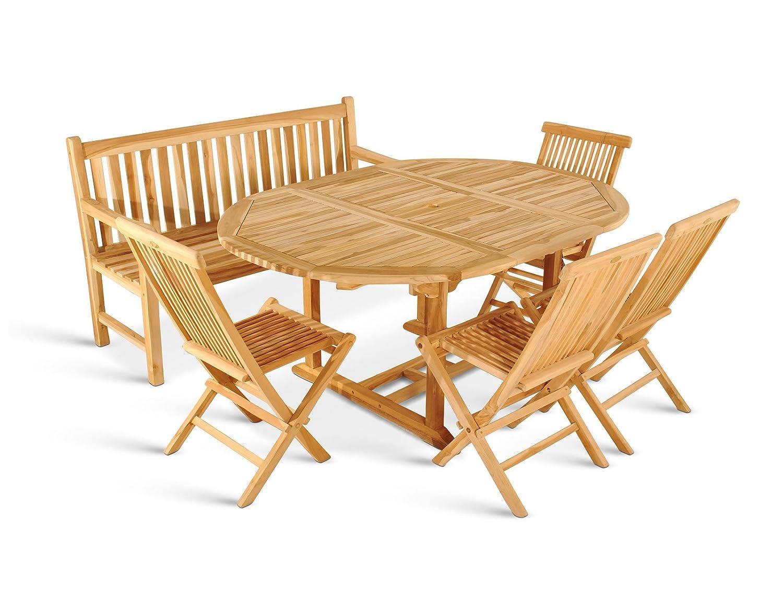 SAM® Teak Holz Gartengruppe, Gartenmöbel 6tlg., Sitzgruppe bestehend aus 1 x Auszugstisch Borneo + 4 Klappstuhl Menorca + 3er Sitzbank Caracas günstig online kaufen