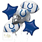 Andaz Press Balloon Bouquet Party Kit with Gold Cards & Gifts Sign, Colts Football Themed Foil Mylar Balloon Decorations, 1-Set (Color: Sports Colts)