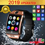 Smart Watch,Bluetooth Smart Watch for Android Phones, Smartwatch Touchscreen with Camera, Smart Watches Waterproof Smart Wrist Watch Phone Compatible Android Samsung IOS Smartphones for Mens Women (Color: Gold)