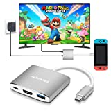 JAVONTEC USB C to HDMI Hub Dock for Nintendo Switch, USB Type C to HDMI Adapter Converter with 4K HDMI, 2 USB 3.0, Power Delivery for MacBook Pro, HP Spectre, Samsung S8/Note 8, Silver (Color: Gray, Tamaño: small)