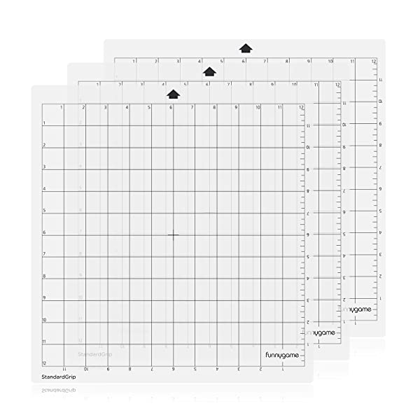 Funnygame Standard Grip Cutting Mat 12x12 for Silhouette Cameo 3/2/1(3 Pack), Adhesive Cutting Mat with Non-Slip Flexible Square Gridded Cut Mat Perfect for Cameo (Color: Transparent for Silhouette)