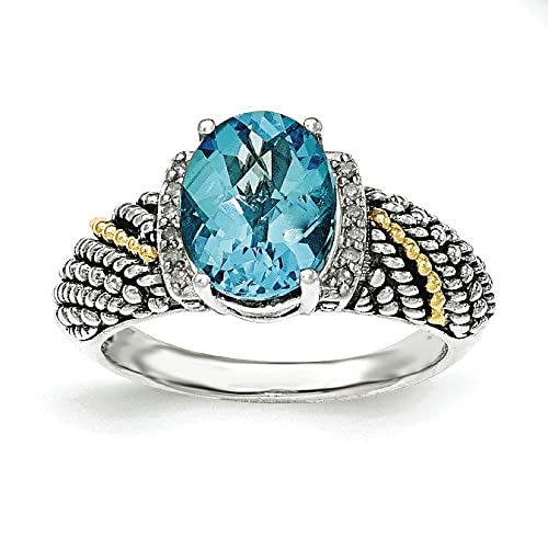 Sterling Silver With 14ct Lt Swiss Blue Topaz and Diamond Ring - Ring Size Options Range: L to P