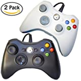 FSC Mixed Pack of 2 USB Wired Game Pad Controller for Use With Xbox 360, Windows 10 5 Colors (Black/White)