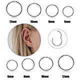 FIBO STEEL 8 Pcs 6-12mm Stainless Steel 16g Cartilage Hoop Earrings for Men Women Nose Ring Helix Septum Couch Daith Lip Tragus Piercing Jewelry Set Silver-Tone (Color: A1: Silver-tone)