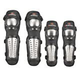 2 Pair of Stainless Steel Motocross Elbow Knee Shin Guard Pads 4Pcs Breathable Adjustable Knee Cap Pads Protector Elbow Armor for Motorcycle Cycling Racing