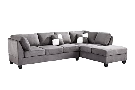 Glory Furniture G633-SC Sectional Sofa, Grey, 2 boxes