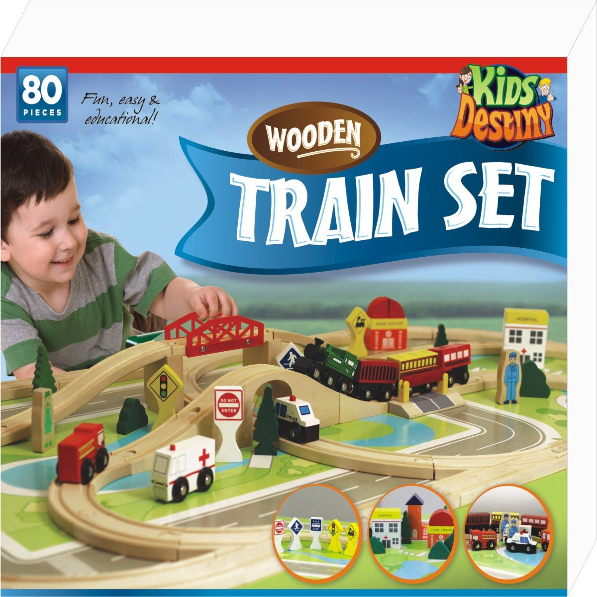 Deluxe 80 Pc. Wooden Train Set Compatible with Thomas & Brio