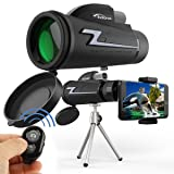 Monocular Telescope, Waterproof 16x50 High Power BAK4 Prism FMC Lens with Tripod Camera Remote Control and Quick Smartphone Holder for Travel,Concert,Sports, etc. (Color: black)