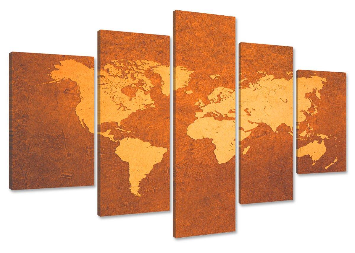 Cuadros en Lienzo mapa del mundo 160 x 80 cm modelo Nr. 5508 XXL Las imágenes estan listas, enmarcadas en marcos de Madera auténtica. El diseño de la impresión artística como un Mural enmarcado. - Electrónica más información y revisión