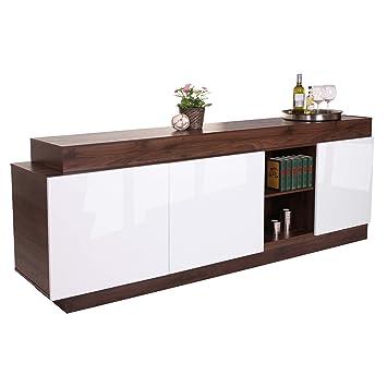 Sideboard credenza design moderno HWC-B51 MDF 85x215x47cm colore noce