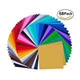 """68 Pack 12"""" X 12"""" Premium Permanent Self Adhesive Vinyl Sheets-Assorted Colors (Glossy,Matt,Metallic and Brushed Metallic) for Cricut,Silhouette Cameo,Craft Cutters,Printers,Letters,Decals"""