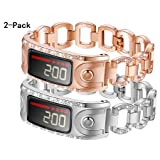 KingBaas Compatible for Garmin Vivofit Band,Replacement Accessory Metal Band with Rhinestone Women Compatible Garmin Vivofit and Garmin Vivofit 2,NOT for Garmin Vivofit 3/4/JR/HR (Silver+Rose Gold) (Color: A0 Silver+Rose Gold)