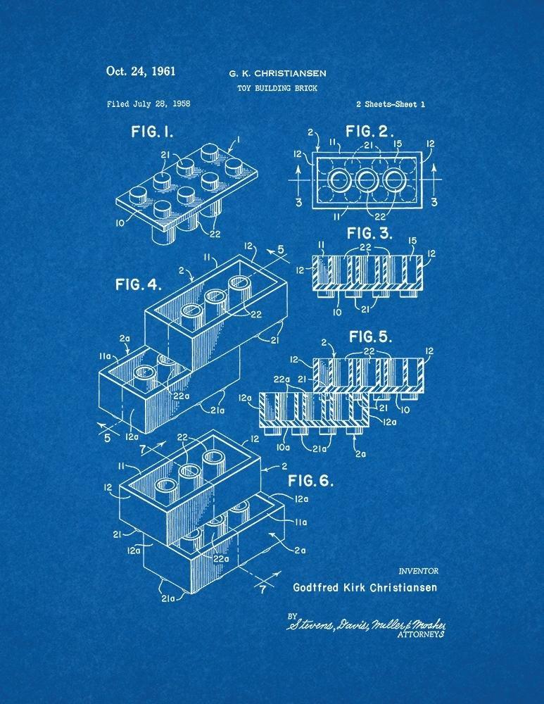 Amazon.com: Lego Toy Patent Art Blueprint Poster (8.5