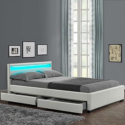Lit design Rona - Taille - 140x190, couleur - Blanc