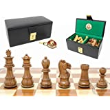 House of Chess - Ringy Rosewood (Acacia Rhodoxylon) / Boxwood Galaxy Staunton Wooden Chess Set Pieces - King Height: 3