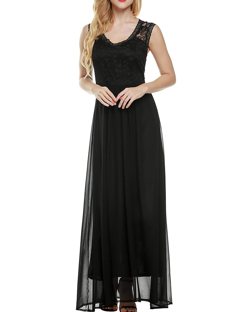 ANGVNS Women's Casual Deep- V Neck Sleeveless Vintage Maxi Dress 1