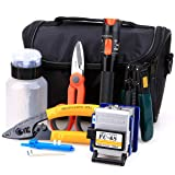 FTTH Fiber Cold Connection Tool Kit 16 in 1 with FC-6S Fiber Cleaver 10mW Aluminum Visual Fault Locator Cable Tester Stripping Tool Kevlar Scissors Equipment (Tamaño: Large)