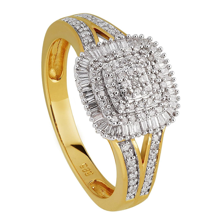 Diamond Line Damen-Ring 14 Karat (585) Gelbgold teilrhodiniert Diamant 1140 als Geschenk