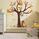 ElecMotive Jungle Wild Animal Vinyl Wall Sticker Decals for Kids Baby Bedroom (Owl Monkey Bear) (Color: Owl Monkey Bear)