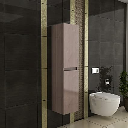Wall Cabinet/Furniture/Cabinet with Soft-Close Function Model High Lugano - H-150/Colour: Brown/Bathroom Cabinet