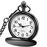 LYMFHCH Classic Smooth Vintage Quartz Pocket Watch, Arabic Numerals Scale Mens Womens Watch with Chain (Black) (Color: Black)