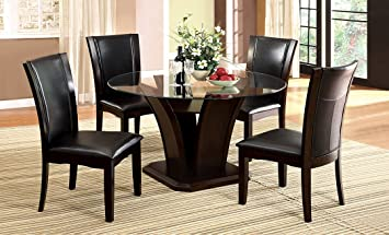 5 Pc. Manhattan II Contemporary Style Dark Cherry Wood Finish Dining Set