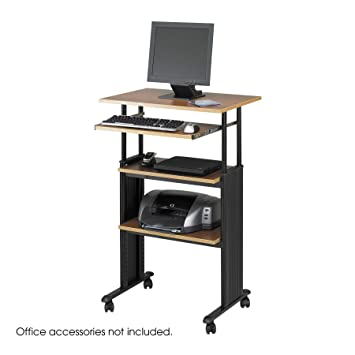 "Safco 1929MO Medium ""Muv"" Adjustable Height Stand-Up Workstation -  Oak"