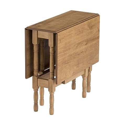 Mood Living Table pliante pour 6 personnes en bois massif finition chêne chaud résistante aux rayures et à la chaleur entretien facile dimensions repliée: 32x 32x 79cm dimensions ouverte: 117x
