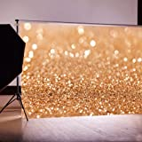 DODOING 5x7ft Vinyl Gold Sequin Bokeh Glitter Photo Backdrop, Wedding Photo Booth Props, Photography Background, Birthday Party Ceremony Background, Studio Props Backdrop (Color: Gold Glitter Sequin, Tamaño: 2.1x1.5m(7x5ft))