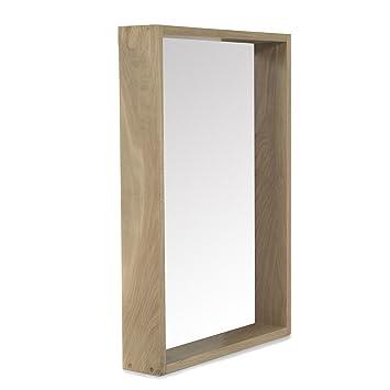 Native miroir de de salle de bains en ch ne naturel for Le miroir 71