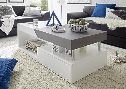 Dreams4Home Couchtisch 'Opes' - Tisch, Beistelltisch, Ablagetisch, Sofatisch, B/H/T: 120 x 42 x 60 cm, Belastbarkeit: max. 40 kg, mit Deckplattenauszug, 1 Ablage, 1 Schubkasten, Wohnzimmer, Gästezimmer, in matt weiß / beton