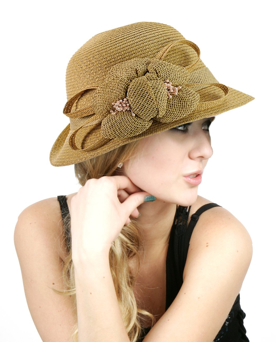 NYfashion101 Side Flip Cloche Bucket Hat w/ Woven Flower & Ribbon Accent 0