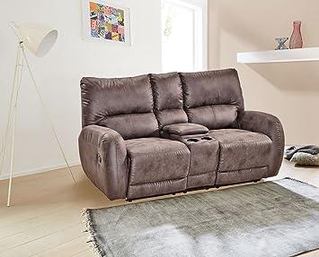 Kinosessel, 2 Sitzer, Cinema - Relax Sofa, Heimkino Sessel, TV Sofa, Relaxcouch, Home Cinema, verstellbar, Liegefunktion, Microfaser, grau
