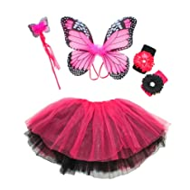 Girls Monarch Butterfly Fairy Costume. Hot Pink & Black 4 Piece Set with Wings Butterfly Wand Reversable Ballet Tutu 2 Flower Clips & Headbands.